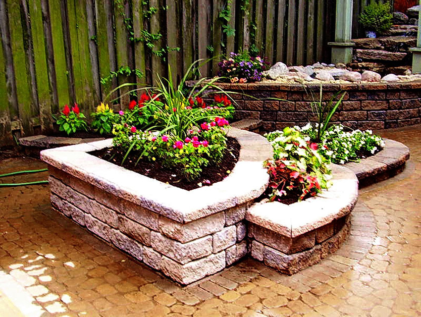 Raised stone planting beds